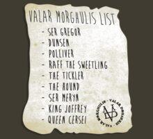 Aryas Valar Morghulis Death List by LgndryPhoenix