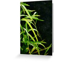 Green Leaves in Black Light Greeting Card