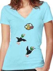 Flappy Hunt Women's Fitted V-Neck T-Shirt