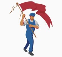 Worker Marching Flag Bearer WPA by patrimonio