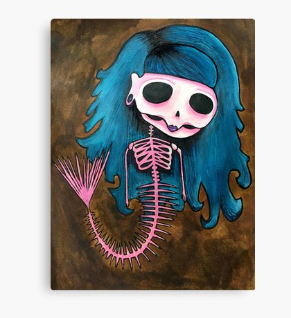 Skeleton Mermaid Canvas Print