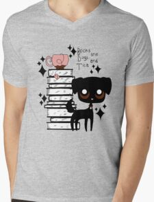 Books and Dogs and Tea Mens V-Neck T-Shirt