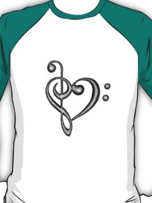 Hand Drawn Treble & Bass Clef Music Note Heart Symbol T-Shirt