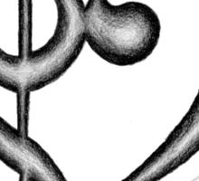 Hand Drawn Treble & Bass Clef Music Note Heart Symbol Sticker