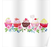 Colorful cupcakes with flowers vector design stripe Poster