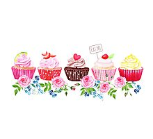 Colorful cupcakes with flowers vector design stripe Photographic Print