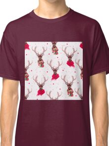 Graceful deer wearing stylish winter scarves Classic T-Shirt