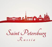 Saint Petersburg skyline in red by Pablo Romero