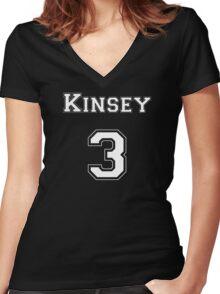 Kinsey3 - White Lettering Women's Fitted V-Neck T-Shirt