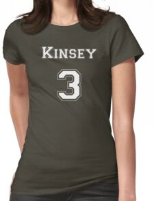 Kinsey3 - White Lettering Womens Fitted T-Shirt