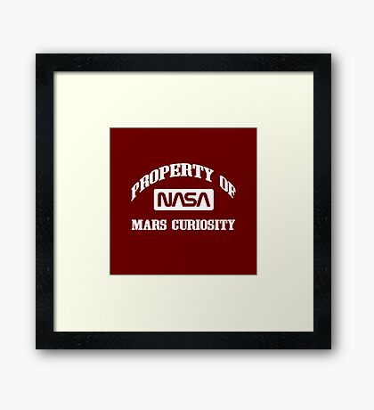 Property of NASA Mars Curiosity Rover Athletic Wear White ink Framed Print