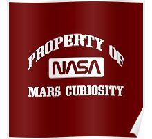 Property of NASA Mars Curiosity Rover Athletic Wear White ink Poster