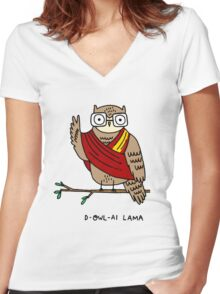 D-owl-ai Lama Women's Fitted V-Neck T-Shirt