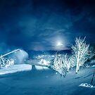 ski slopes landscape at night by Alexandr Grichenko
