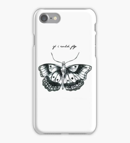 """If I Could Fly"" Butterfly Drawing  iPhone Case/Skin"