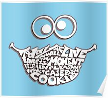 Cookie Monster Typography (white) Poster