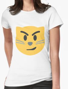Cat face with wry smile emoji Womens Fitted T-Shirt