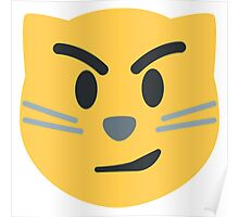 Cat face with wry smile emoji Poster