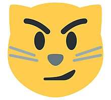 Cat face with wry smile emoji Photographic Print