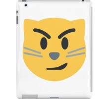 Cat face with wry smile emoji iPad Case/Skin