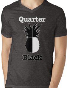 Quarter Black Mens V-Neck T-Shirt