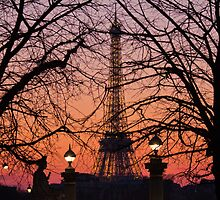 Paris Sunset - Eiffel Tower, France by Kellie Netherwood