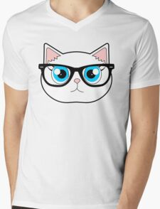 Hipster Cat with Glasses Mens V-Neck T-Shirt