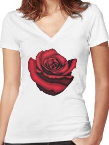 Rose Women's Fitted V-Neck T-Shirt