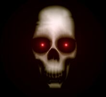 Evil skull with glowing red eyes by lucid-reality