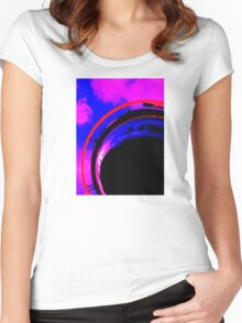 Abstract red magenta black blue Women's Fitted Scoop T-Shirt