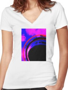 Abstract red magenta black blue Women's Fitted V-Neck T-Shirt