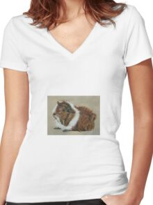 """""""Lucky"""" Gorgeous Guinea Pig Women's Fitted V-Neck T-Shirt"""