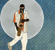 Saxophone Musician by Janet Carlson