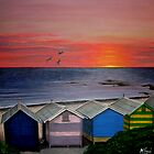 Beach Hut Sunset by Melanie Froud