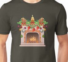 Decorated Christmas Fireplace Unisex T-Shirt