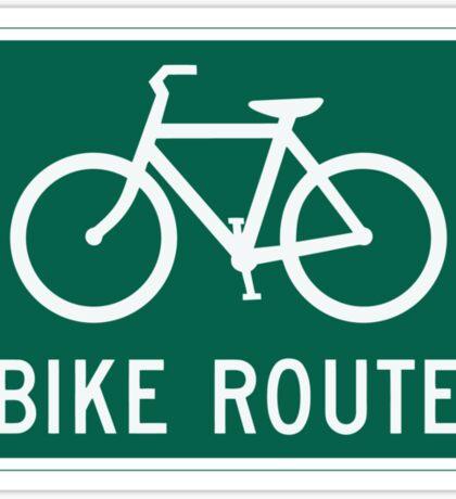 Bike Route Sign T-Shirt Sticker