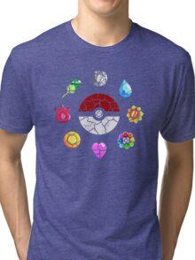 Cracked Pokeball and Badges Kanto version Tri-blend T-Shirt