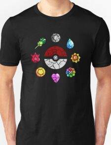 Cracked Pokeball and Badges Kanto version T-Shirt