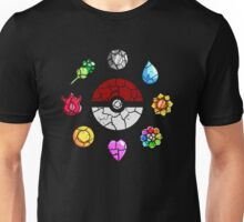 Cracked Pokeball and Badges Kanto version Unisex T-Shirt