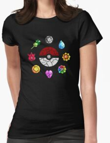 Cracked Pokeball and Badges Kanto version Womens Fitted T-Shirt