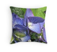 Blue Lacecap Hydrangea Macro Throw Pillow
