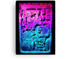 Aztec city  in cyan Colors Canvas Print