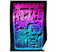 Aztec city  in cyan Colors Poster