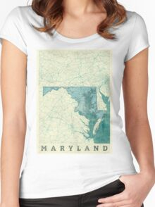 Maryland Map Blue Vintage Women's Fitted Scoop T-Shirt