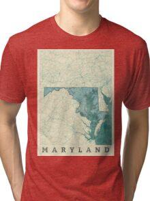 Maryland Map Blue Vintage Tri-blend T-Shirt