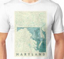 Maryland Map Blue Vintage Unisex T-Shirt