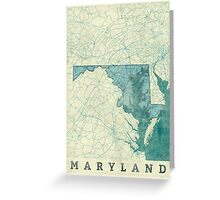 Maryland Map Blue Vintage Greeting Card