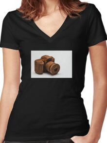 Chocolate Camera Women's Fitted V-Neck T-Shirt