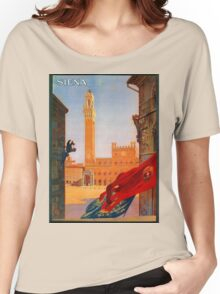 Vintage Siena Italian travel advertising Women's Relaxed Fit T-Shirt