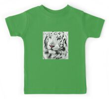 White Tiger Portrait Kids Tee